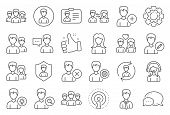 User People Line Icons. Male And Female Profile, Group And Support Icons. Id Card, Teamwork People A poster