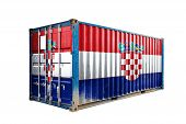The Concept Of  Croatia Export-import, Container Transporting And National Delivery Of Goods. The Tr poster