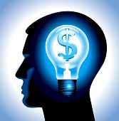 the idea to earn money. the silhouette of a human head with a lamp and a dollar. File is saved in AI