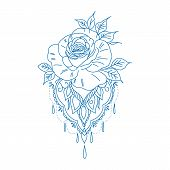 Collection Roses On White Background. Icon Rose. Roses Red, Beige, Purple, Pink, Coral, Yellow, Whit poster