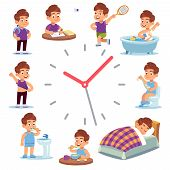 Daily Routine Clocks. Daily Routine Clocks. Schedule Of Happy Boy Life From Morning Breakfast At Hom poster