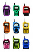 Set Of Multi-colored Walkie-talkies With An Antenna. Vector Illustration. poster