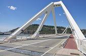 Bascule bridge across the harbor in Barcelona