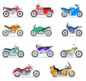 Motorcycle Set. Motorbike And Scooter, Bike And Chopper. Motocross And Delivery Vehicles Side View I poster