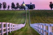 stock photo of bluegrass  - Horse farm at sunset - JPG