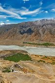 Aerial view of Spiti valley and Key gompa in Himalayas. Spiti valley, Himachal Pradesh, India poster