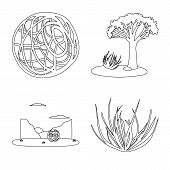 Isolated Object Of Wilderness And Texas Symbol. Set Of Wilderness And Pasture Vector Icon For Stock. poster