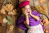 Kid Girl Bright Soft Knitted Hat Enjoy Autumn. Autumn Fashion Hat Accessory. Girl Cute Child In Knit poster