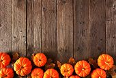 Autumn Bottom Border Of Pumpkins And Fall Leaves. Above View On A Rustic Wood Background With Copy S poster