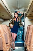 Beautiful Flight Attendant In An Airplane Smiling. Stewardess. Woman Stewardess. Airplane And Woman. poster