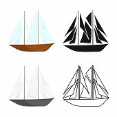 Vector Illustration Of Yacht And Sail Symbol. Collection Of Yacht And Regatta Stock Symbol For Web. poster