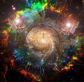 Soul Journey. Man soul in vivid space. Flying angels. 3D rendering poster