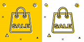 Black Shoping Bag With An Inscription Sale Icon Isolated On Yellow And White Background. Handbag Sig poster