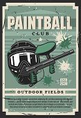 Paintball Club Shooting Equipment, Vector. Sport Game, Paint Ball Gun And Protective Tinted Mask Sur poster
