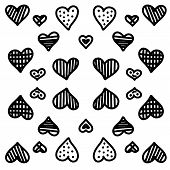 Modern Doodle Pattern With Doodle Hearts With Shading For Celebration Design. Sketchy Hand Drawn Sty poster