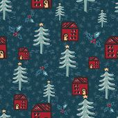 Seamless Pattern. Hand Drawn Naive Christmas Star Fir Tree, House In The Woods. Festive Folk Art Bac poster