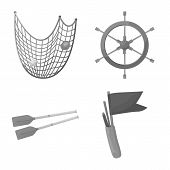 Vector Design Of Nautical And Voyage Icon. Set Of Nautical And Seafaring Stock Symbol For Web. poster