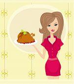 Beautiful Waitress serving a chicken
