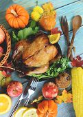 Thanksgiving Dinner With Turkey Vegetable Fruit Served On Holiday Thanksgiving Table Celebration Tra poster