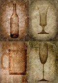 Grunge Bottles And Glasses Illustration