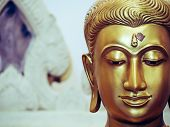The Face Of The Buddha Image, Which Is The Belief And Faith Of Buddhists. Golden Stucco Buddha Image poster