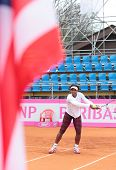 KHARKIV, UKRAINE - APRIL 20: Serena Williams on the court during training game on Fed Cup Tie betwee