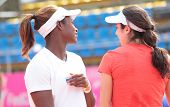 KHARKIV, UKRAINE - APRIL 19: Sloane Stephens and Christina McHale during training before Fed Cup Tie