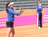 KHARKIV, UKRAINE - APRIL 19: Christina McHale on the court during training before Fed Cup Tie betwee