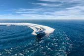 Speed boat in mediterranean sea, aerial view poster