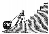 Freehand Pen Drawing Of A Business Man Pulling Debt In Form Of A Huge Kettle Bell Uphill A Slope Whi poster