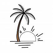 Palm Tree Icon Of Summer And Travel Logo Vector Illustration Design, Beach Logo Design Vector, Sunse poster