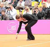 KHARKOV, UKRAINE - APRIL 22: Referee on the court during Fed Cup tie between USA and Ukraine in Supe