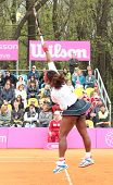 KHARKOV, UKRAINE - APRIL 22: Serena Williams serves a ball during Fed Cup tie between USA and Ukrain