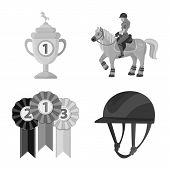 Vector Design Of Race And Horse Sign. Collection Of Race And Racing Vector Icon For Stock. poster