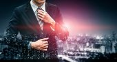 Double Exposure Image Of Business Person poster