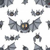 Seamless Pattern Of Cartoon Bats. Cute Vampire Bat, Flying Mammal Backdrop poster