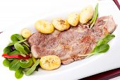Steak Of Pork Neck With New Potatoes