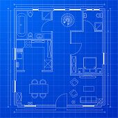 detailed illustration of a blueprint floorplan, eps 10