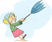 Illustration of an Old Lady with an upturned umbrella during a Windy Weather