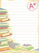 Background Illustration of a Stack of Books with an A+ Mark on the Side