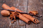closeup of anise, cinnamon and vanilla pods