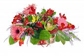 Colorful Floral Arrangement From Lilies, Cloves And Orchids In Cardboard Chest Isolated  On White.