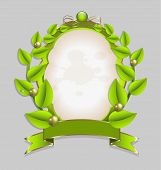 Fresh leaves wreath vector with gold embellishment