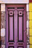 Black Violet Wood Old Door In The Centre Of La Boca