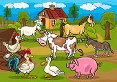 stock photo of caricatures  - Cartoon Illustration of Rural Scene with Farm Animals Livestock Big Group - JPG