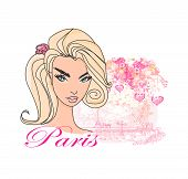 Abstract Beautiful Woman In Paris Poster