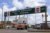 A Loaded Truck Leaves Port In Montevideo, Uruguay.