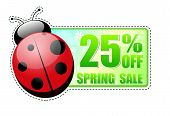 25 Percentages Off Spring Sale Green Label With Ladybird
