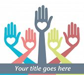stock photo of word charity  - Hand design with text space vector - JPG