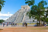 El Castillo Pyramid At The Maya Archaeological Site Of Chichen Itza, Yucatan, Mexico